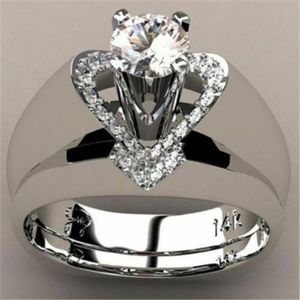 Jewelry - 💍Silver Heart💍Wide Band💍Engagement Ring💍